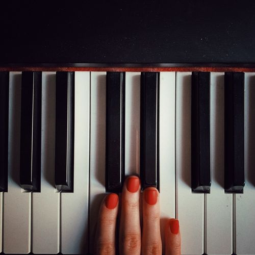 love piano Nail Polish Human Body Part Nail Body Part One Person Red Musical Equipment Real People Red Nail Polish Music Women Adult Indoors  Finger Human Hand Human Finger Piano Personal Perspective Lifestyles