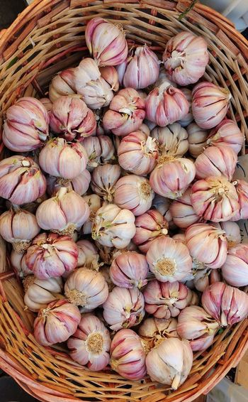High angle view of garlic in basket