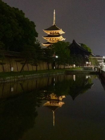 東寺 五重塔 Architecture Built Structure Religion Reflection Place Of Worship Spirituality Building Exterior Water Travel Destinations Illuminated History Water Reflections Tourism Sky Night Dome Temple Temple - Building Japanese Temple IPhoneography