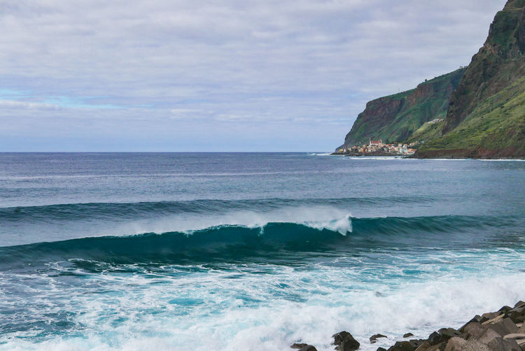 Madeira Portugal Aquatic Sport Beach Beauty In Nature Cloud - Sky Horizon Horizon Over Water Land Motion Nature No People Outdoors Rock Rocky Coastline Scenics - Nature Sea Sky Sport Tranquil Scene Tranquility Water Wave