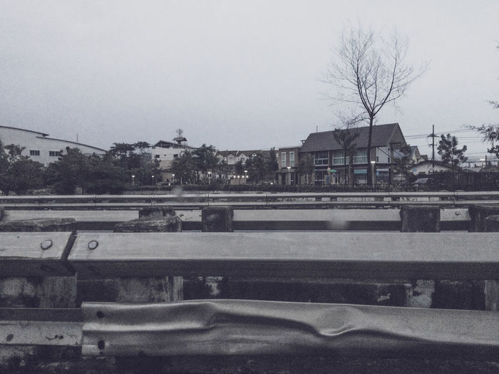 Alone Road Bridge Cold Temperature Gloomy Local Town On The Road Sideways