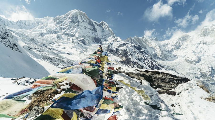 Pic from Annapurna Basecamp at about 4200m altitiude. Its the finish Point of the famous ABC Trek Annapurnacircuit Beauty In Nature Day Hiking Mountain Mountain Range Nature Nepal Outdoors Prayer Flags  Sky Snow Snowcapped Mountain Winter First Eyeem Photo