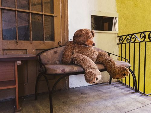 Sleepy bear... Teddy Bear Stuffed Toy Chair Architecture Built Structure Building Exterior House Indoors  Animal Themes Toy Childhood Memories No People Full Length Sitting Toys Playground Street Mobile Photography Details Of My Life Still Life Brown Fluffy Fun Retro Teddybear The Week On EyeEm