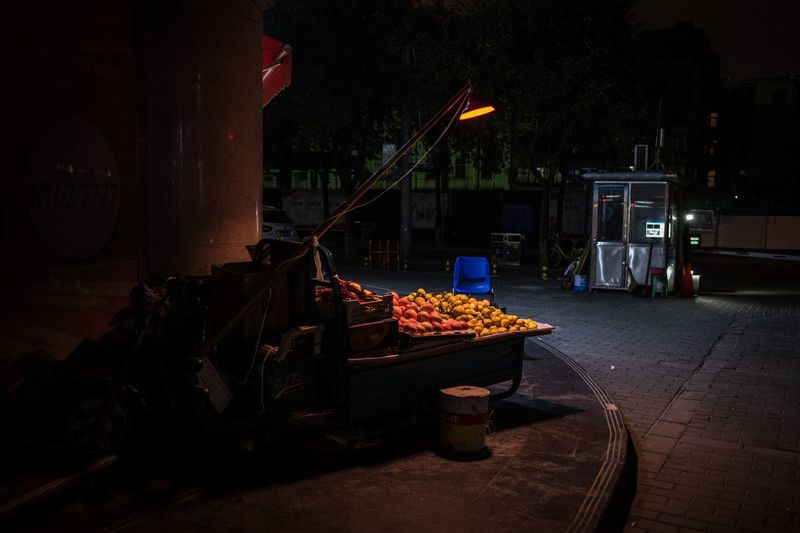 View of food on street in city at night