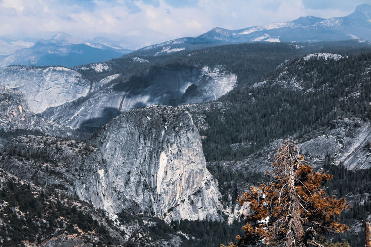 Scenic view of yosemite national park snowcapped mountains against sky