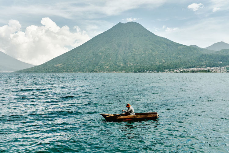 Fisherman on lake atitlan, guatemala