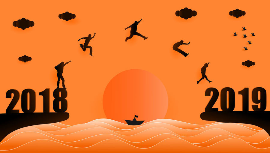 illustration graphic design silhouette of group of people jumping from year 2018 to year 2019 over sunset at the sea, paper art style concept for 2019 new year. 2016 2019 New Year Illustration Design Grahpic Sunset Sunrise Silhouette Blackandwhite Jumping People Success Destination Target Activity Black Orange Color Twilight Evening Sky Flying Concept Sun Sea