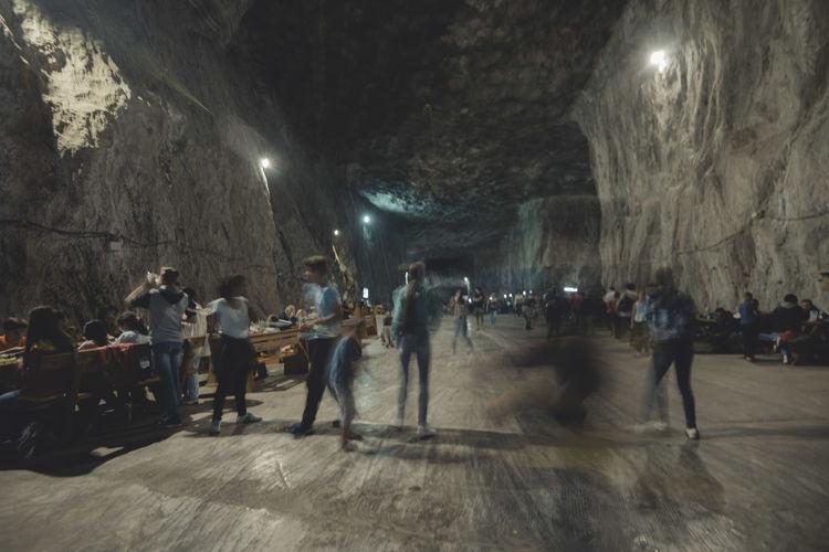 Children Crowd Illuminated Large Group Of People Lifestyles Mine Parajd Playing Praid Salt Saltmine  Tourism Transylvania