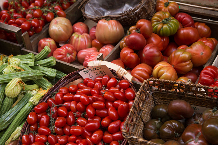Basket Choice Close-up Datterini Day Food Food And Drink For Sale Freshness Healthy Eating Large Group Of Objects Market No People Offer Organic Outdoors Red Retail  Still Life Tomato Variation Vegetable