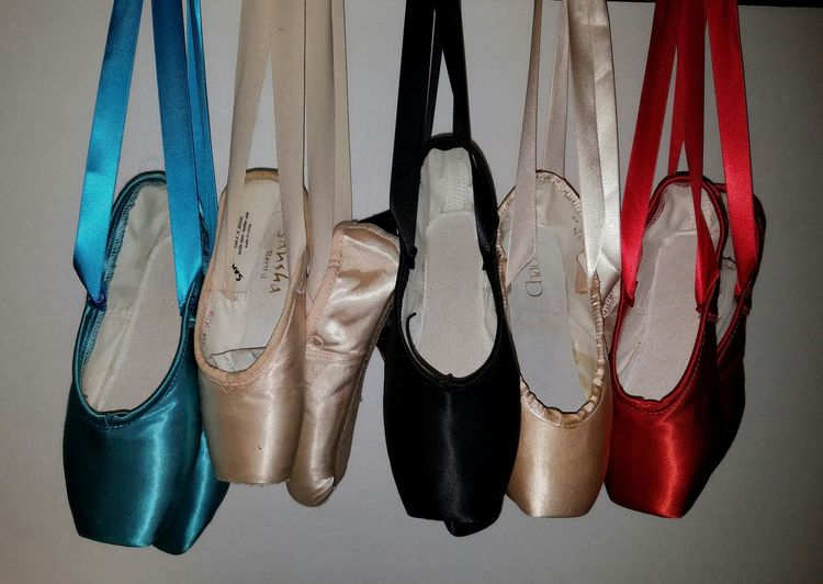 Beautifully Organized Hanging Close-up Shoe No People Fashion Indoors  Day Ballet Shoes Backstage