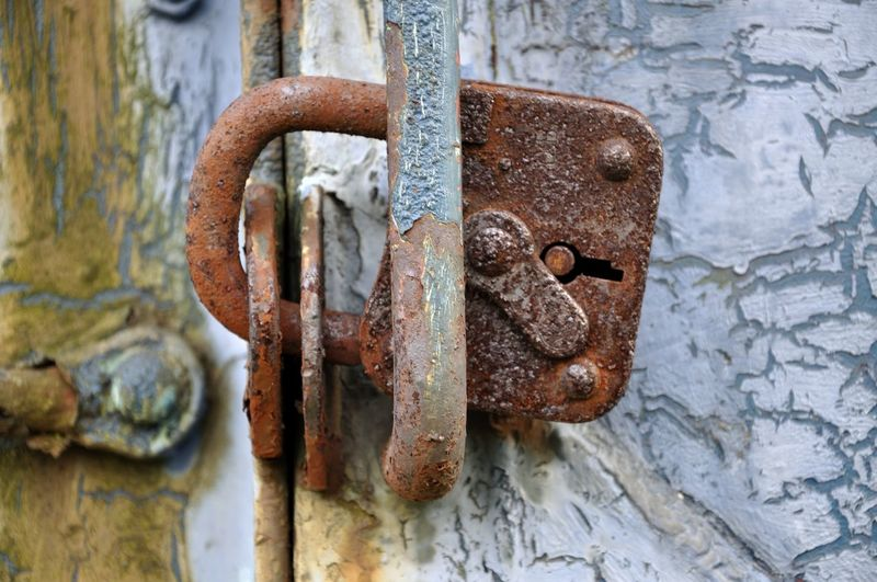 Close-Up Of Rusty Padlock