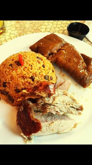 Typical Puerto Rican dinner. Food And Drink Plate Meal Homemade Food Styling Lunch Ready-to-eat Main Course Savory Food