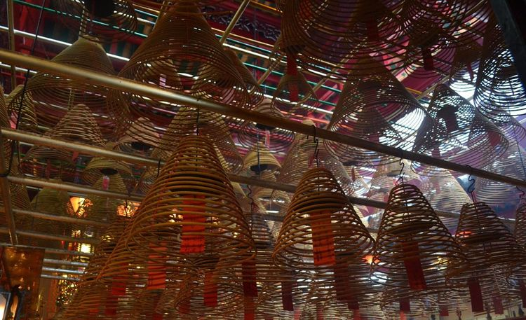 Incense at Man Mo Temple. Travel Hong Kong Adventure Incense