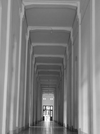 Architecture Central Java,indonesia Corridor Diminishing Perspective Lawang Sewu Heritage Building Semarang , Indonesia The Way Forward White Background