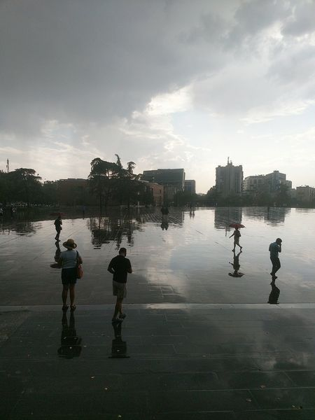 Rainsay Summertime Urban City People Silhouette Perspectives Nature Tirana Albania Motoz Lost In The Landscape