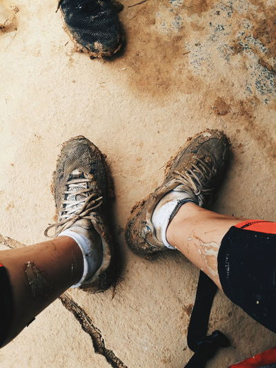 Mud Muddy Vietnam Sapa, Vietnam Hiking Dirty Shoes Hikingadventures Hiking Shoes Sneakers Outdoors Outdoor Photography Running Human Leg Standing High Angle View Shoe Footwear Feet