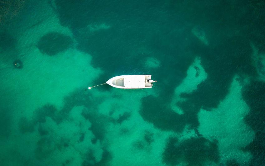 High angle view of sailboat on se