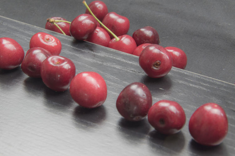 High angle view of cherries on table