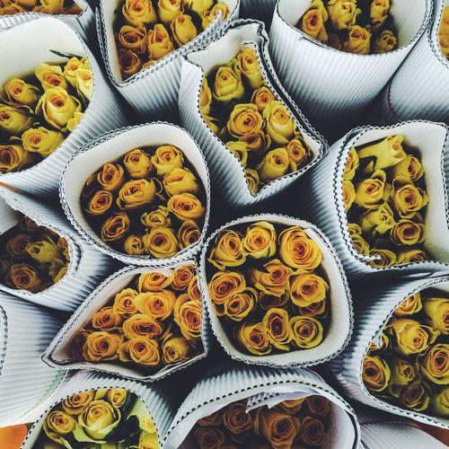 Full frame shot of yellow roses for sale