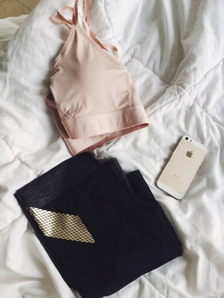 Packing for gym Flatlay Gym Clothes Packing Going To Gym Leggings Sports Bra Phone IPhone