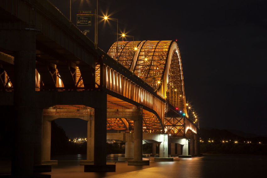 Arch Architecture Banghwadaegyo Bridge Bridge - Man Made Structure Building Exterior Built Structure City Connection Dark Engineering Han River Hangang Park Illuminated In A Row Long Low Angle View Night Outdoors Road Sky Skyscraper Street The Way Forward Transportation