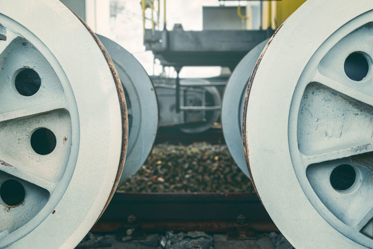 Close-up of train at railroad station
