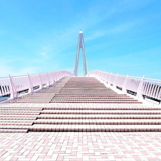 Stairway to heaven Sky Blue Outdoors Built Structure Architecture Day Connection Bridge - Man Made Structure No People Clear Sky Bridge Steps Stairs Taiwan Fisherman's Wharf Taipei EyeEmNewHere The Secret Spaces Break The Mold