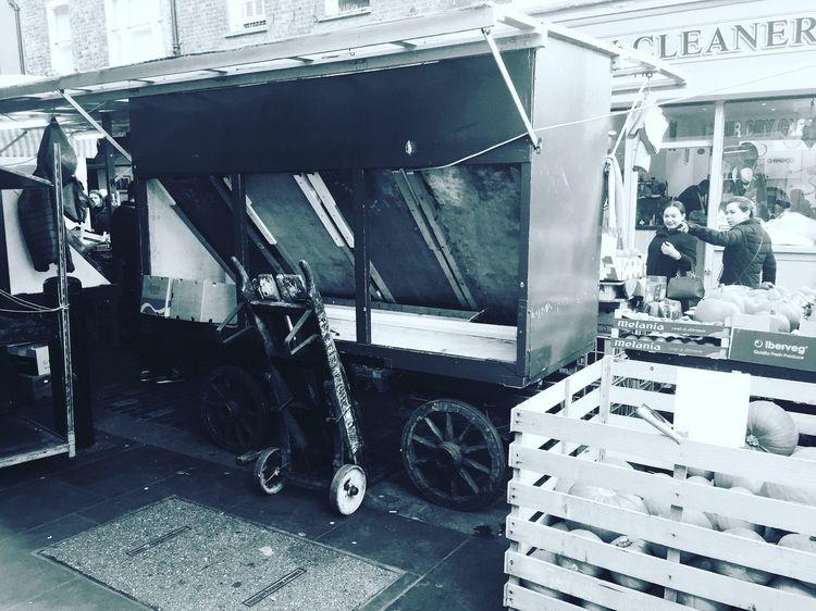Berwick Street Market, London Market Street Streetphotography Street Photography Streetphoto_bw Monochrome Black And White History Historic Cart London Soho