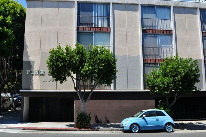 Cars parked in front of building