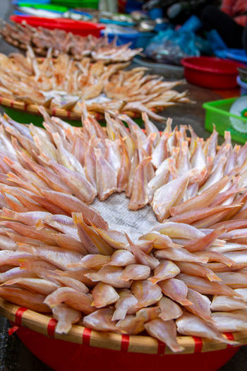 Close-up of seafood for sale in market