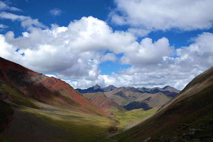 Mountains of Peru Rainbow Mountain Scenics Scenery No People Vinicunca Mountain Panoramic Beauty Valley Sky Landscape Mountain Range Cloud - Sky Mountain Road Winding Road