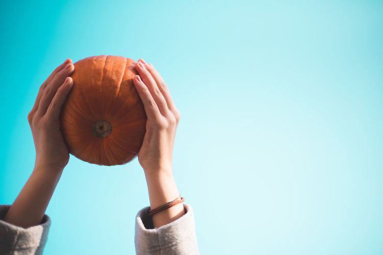 Autumn Mood Human Hand Human Body Part Holding One Person Hand Food And Drink Copy Space Colored Background Blue Background Food Blue Body Part Pumpkin Studio Shot Unrecognizable Person Women Indoors  Real People Orange Color Finger Human Limb Obscured Face 50 Ways Of Seeing: Gratitude