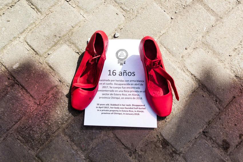 International End the Violence Against Women Day NiUnaMenos! Protest Central America Panamá Boquete, Panama Femicide Red Shoes Feminism Hispanic Woman Women Murders Violenceagainstwomen