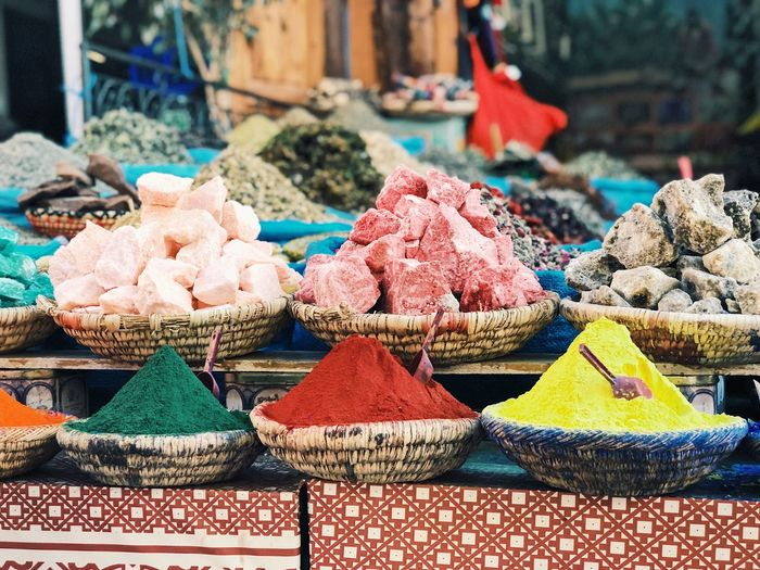 Colorful food for sale at market stall