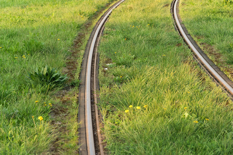 High angle view of railroad track amidst field