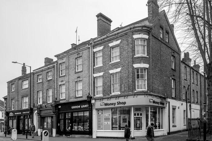 Mixed shops, Church Street, Rugby, Warwickshire Rugby Warwickshire Rugbytown Black And White Monochrome Architecture Shops FUJIFILM X-T10 Street
