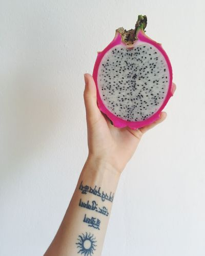 Food And Drink Food Fruit White Background Human Hand Holding SLICE Healthy Eating Pitaya Close-up Freshness IPhoneography