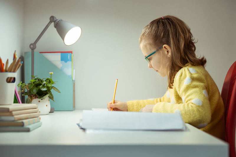 Cute girl writing on book in office