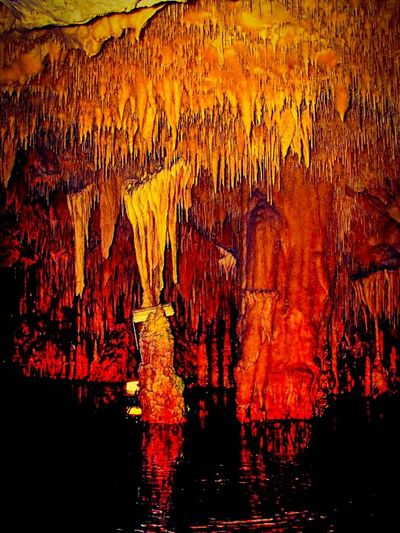 Cave Cave Formations Cave Photography Stalactites Water Reflections Diros Cave Mani Lakonias Peloponese Greece No People Wallpaper Fine Art Cave Tours Shades Of Red Shades Of Yellow