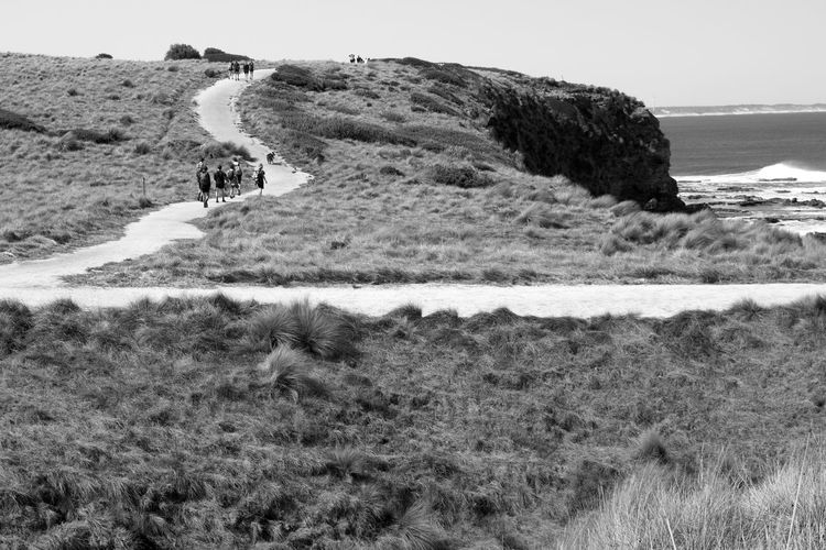 Path Walk Beauty In Nature Blackandwhite Day Environment Field Grass Land Landscape Leisure Activity Men Mountain Nature Outdoors People Plant Real People Scenics - Nature Sea Sport Track Trail Walking Water