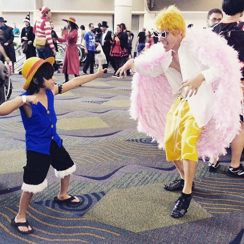 Japanese Anime Cosplayers Cosplaying Orlando Florida Anime Con Megacon Cosplyer Cosplay One Piece Monkey D Luffy DonQuixote Doflamingo Dofi Luffy Anime Anime Lover Hobby