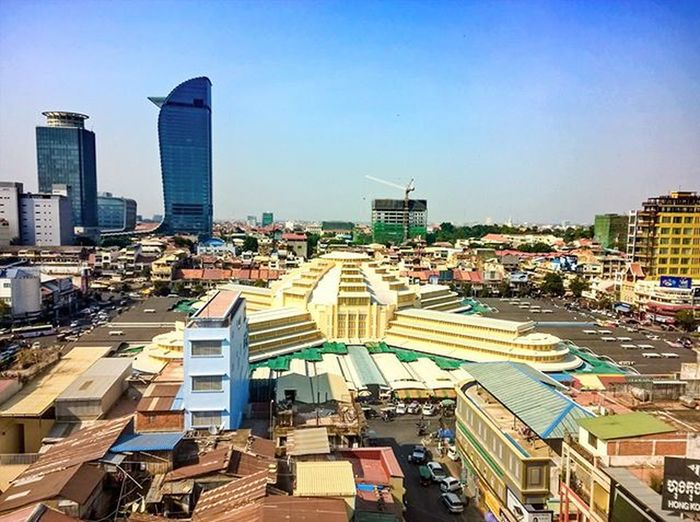 Phnom Penh Landmarks. Left to right: Canadian Bank, Vattanac Capital and Central Market.