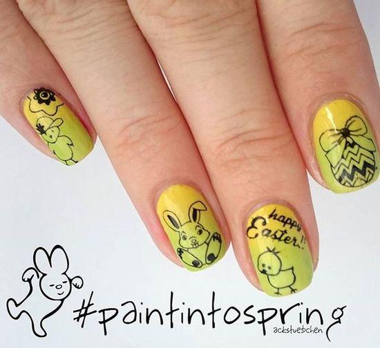 Heute geht es bei unserer Paintintospring Challenge um das Thema Ostern 🐇 dazu habe ich ein Gradient gemacht und mit der @moyou_london Festive09 gestampt 🐰🐣