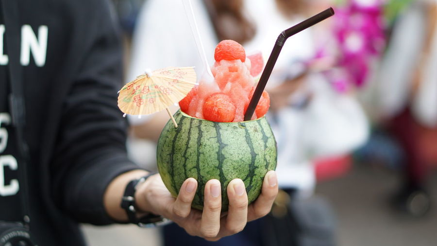 Watermelon Close-up Day Finger Focus On Foreground Food Food And Drink Freshness Fruit Hand Healthy Eating Holding Human Body Part Human Hand Incidental People Midsection One Person Outdoors Real People Wellbeing Women