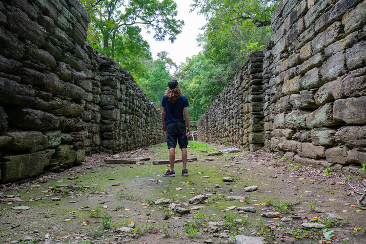Rear view of man standing amidst ancient built structure in forest