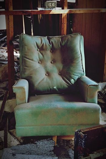Arizona Desert Burnt Cabin Old Chair Old Cabin Remains Travels Roadside Summer Exploring Light Teal