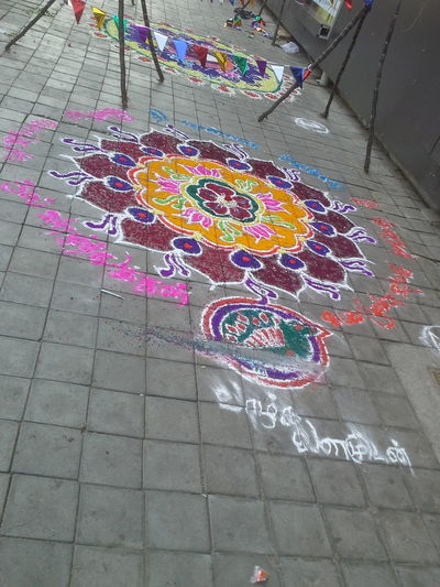Rangoli on the eve of Indian festivals. Roadside. Multi Colored Street High Angle View Celebration Outdoors No People Day Pongal Onamcelebrations EyeEmNewInHere EyeEmNewHere Rangoli Rangoli Preparations Rangolitime Rangoli Colours Diyas RangoliArt Diwalicelebrations Festivaloflights Rangoli Design RangoliArt Diwali Rangoli With Lovely Msz.. Rangoli Colours Diyas Rangoli Time Tiled Floor Rangolichilipili Rangoli In India Rangoli .