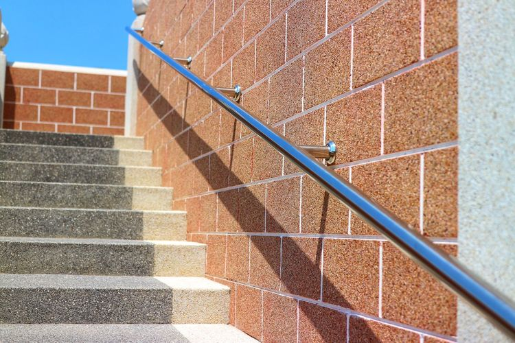 Steps And Staircases Steps Brick Wall Architecture Building Exterior Built Structure Close-up Spiral Staircase Spiral Bannister Skylight Railing Footbridge Escalator Directly Below Brick Staircase Spiral Stairs Stairs Hand Rail Stairway Fire Escape Ladder Wall - Building Feature