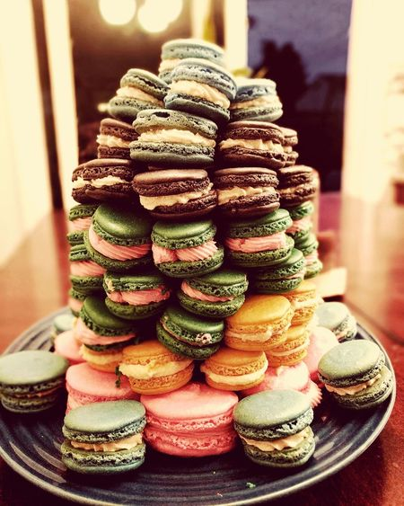 Perfect in its imperfection Macaron Stack Multi Colored Sweet Food Food Bake Baked Goods Frenchmacaron Nomnom Delicious Imperfection Good Goodlife Beautiful