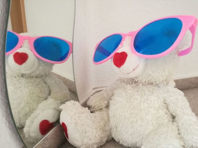 Light And Reflection Mirror Cuddly Toy Pink Sunglasses Teddy Bear Red Soft White Cute Reflection Funny Teddy Fun